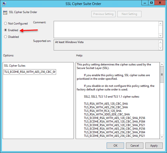 SSL Cipher Order Policy